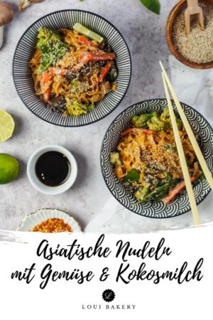Asiatische Nudeln mit Gemüse & Kokosmilch