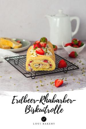 Erdbeer-Rharber-Biskuitrolle