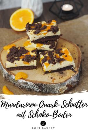 Mandarinen-Quark-Schnitten mit Schoko-Boden