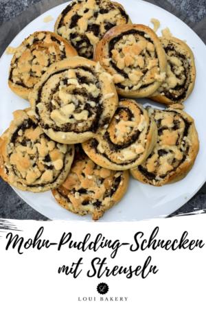 Mohn-Pudding-Schnecken mit Streuseln