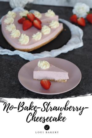 No-bake-Strawberry Cheesecake mit Keksboden