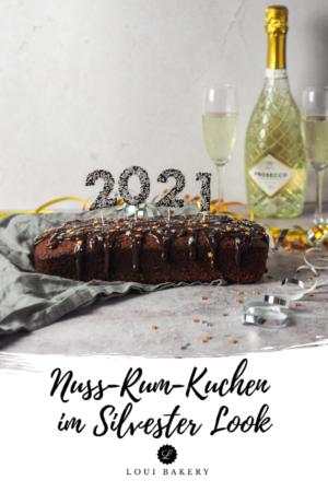 Saftiger Nuss-Rum-Kuchen im Silvester Look