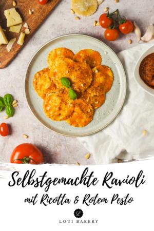 Selbstgemachte Ravioli mit Ricotta & Rotem Pesto