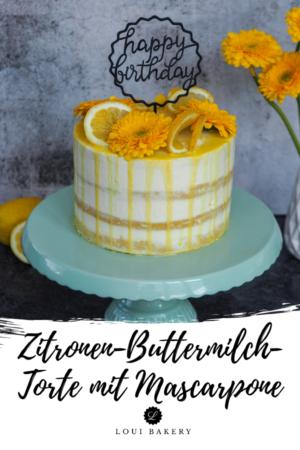Zitronen-Buttermilch-Torte mit Mascarpone